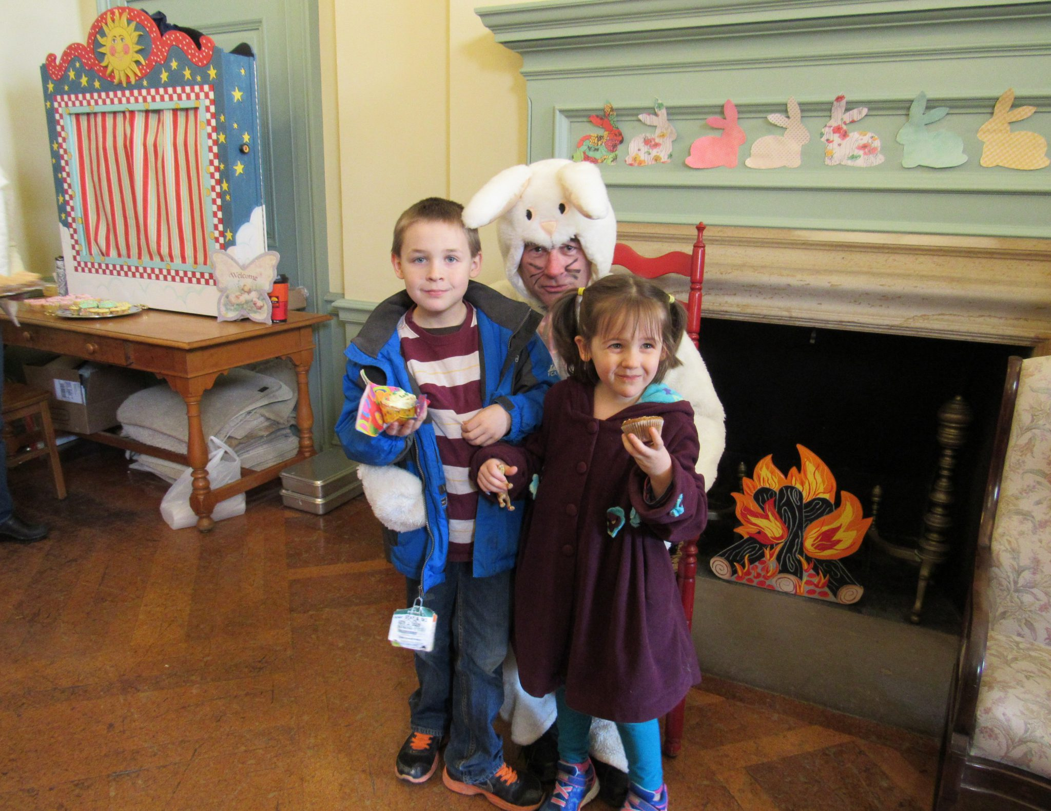 Visit from the Easter Bunny during the 2016 Rotary Easter Egg Hunt